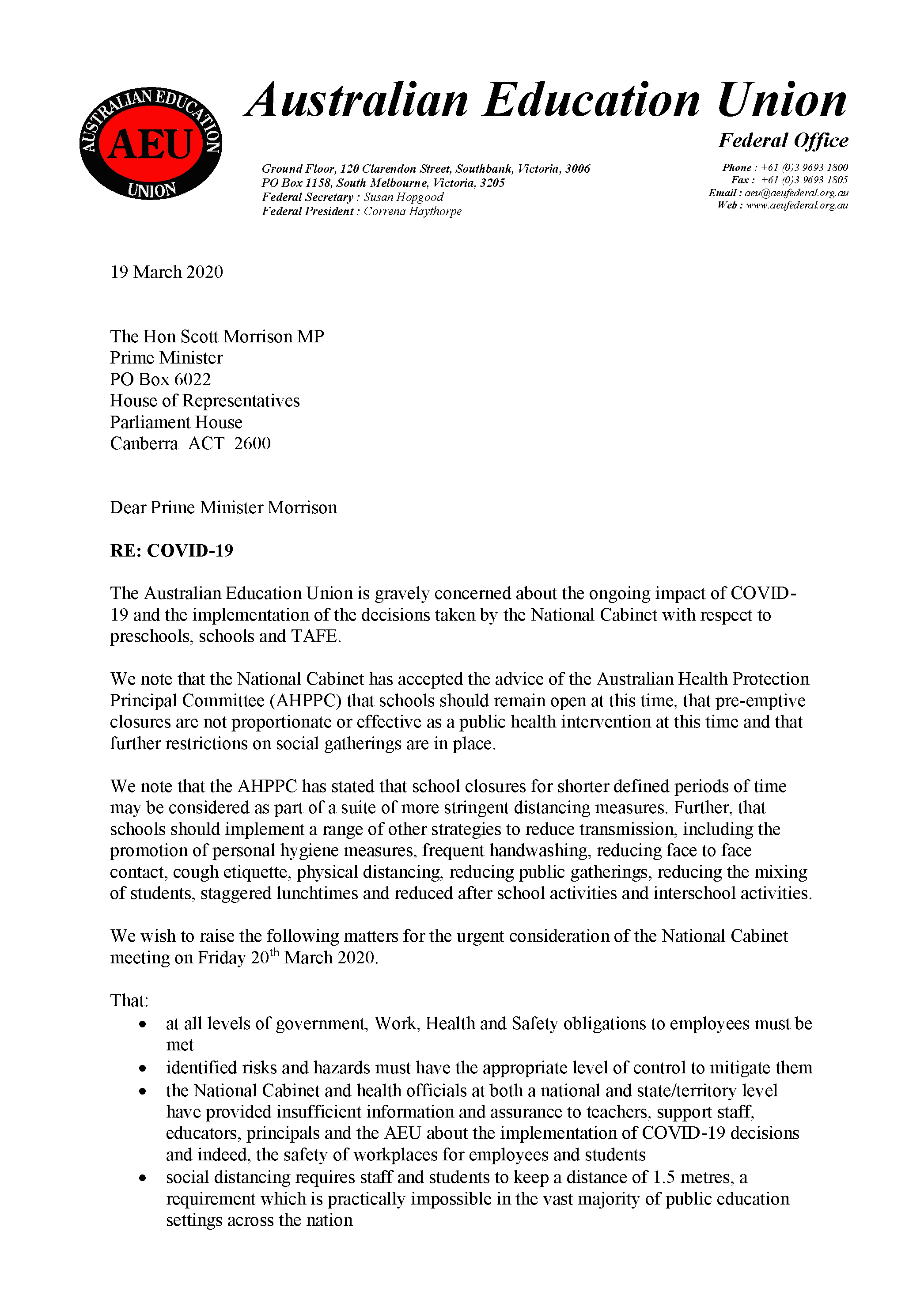 Click image to read AEU joint letter to Prime Minister.